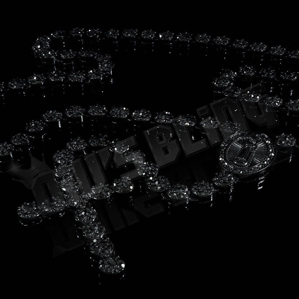 14k Black Gold Iced Rosary Flower Chain