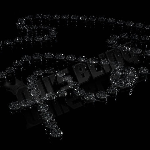 Affordable 14k Black Gold Iced Out Rosary Flower Hip Hop Chain - Black Background