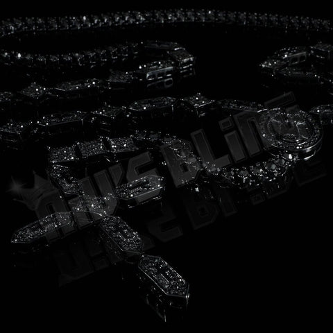 Affordable 14k Black Gold Iced Out Rosary Shapes Hip Hop Chain - Black Background
