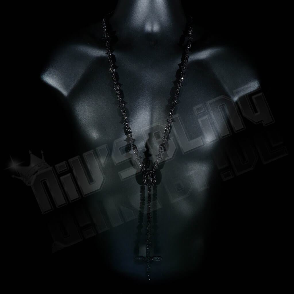 Affordable 14k Black Gold Iced Out Rosary Shapes Hip Hop Chain - On Mannequin