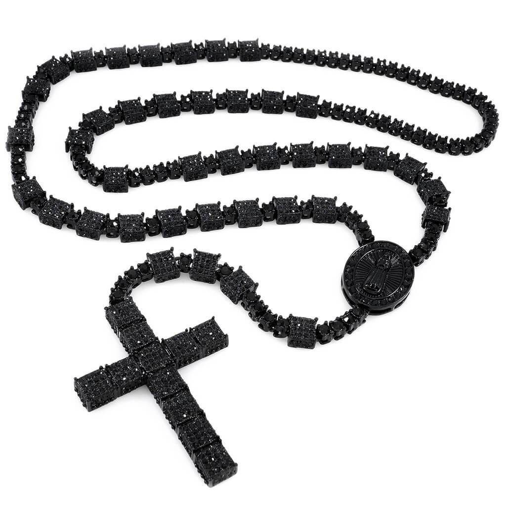 Affordable 14k Black Gold Iced Out Rosary Square Hip Hop Chain - White Background