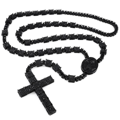 14k Black Gold Iced Out Rosary Square