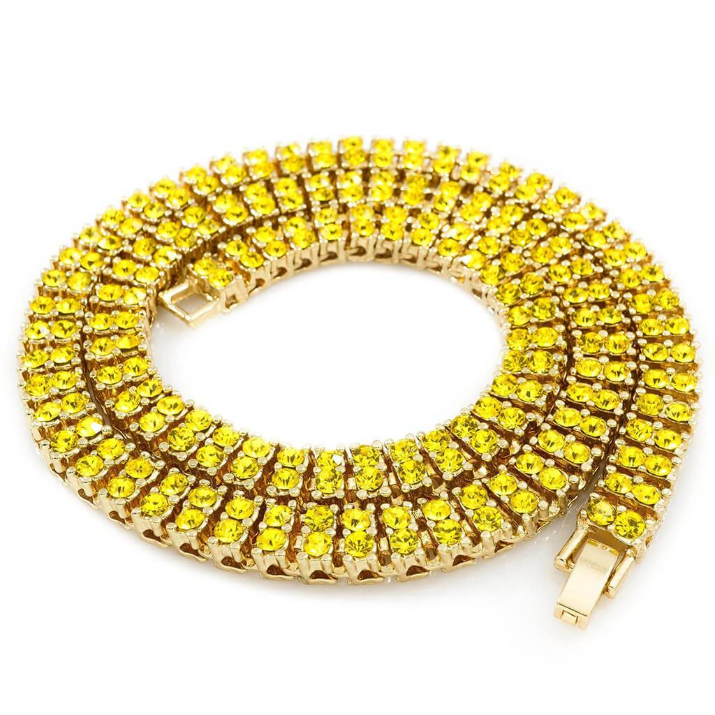 14k Canary 2 Row Iced Chain