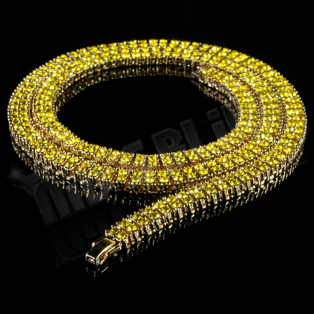 Affordable 14k Canary 2 Row Iced Out Hip Hop Chain - Black Background