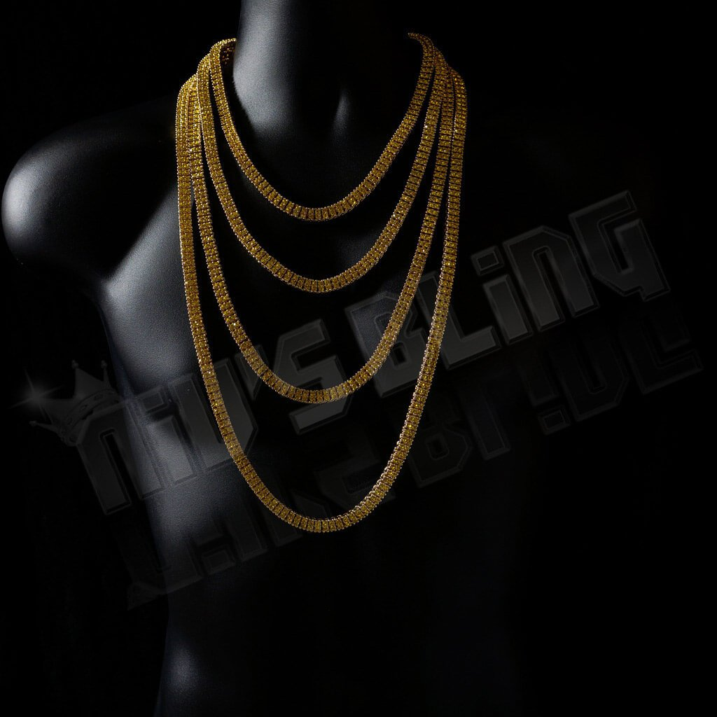 Affordable 14k Canary 2 Row Iced Out Hip Hop Chain - On Mannequin