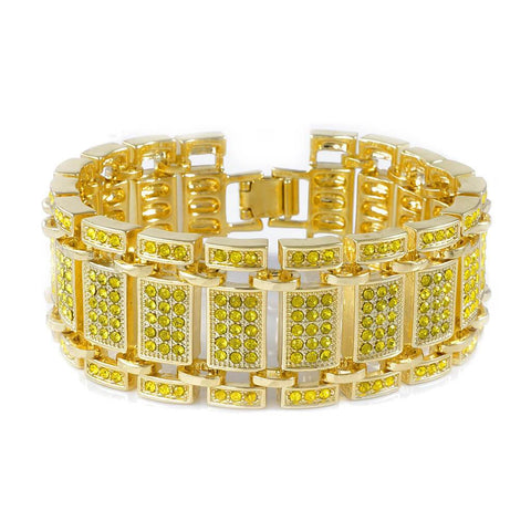 14k Canary Gold Iced Out Ladder Bracelet