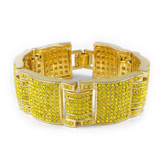 Affordable 14k Canary Iced Out Large Link Hip Hop Bracelet - White Background