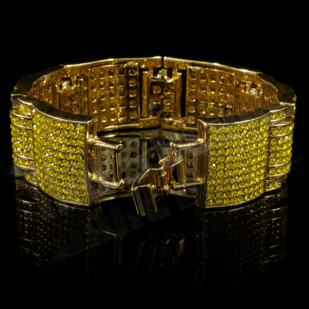 Affordable 14k Canary Iced Out Large Link Hip Hop Bracelet - Side View with Open Fold-Over Clasp
