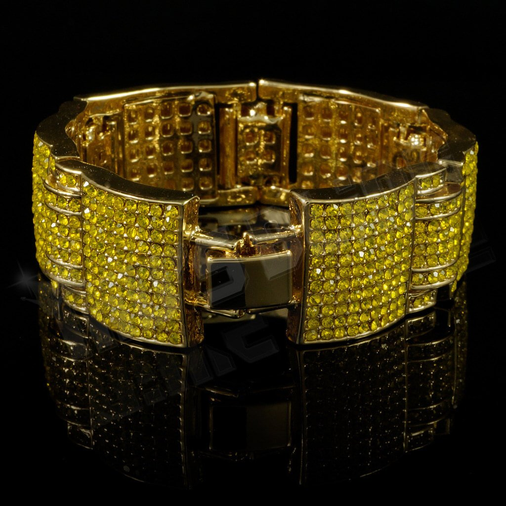 Affordable 14k Canary Iced Out Large Link Hip Hop Bracelet - Side View with Closed Fold-Over Clasp