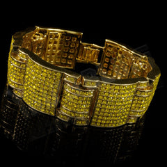 14k Canary Gold Iced Out Large Link Bracelet