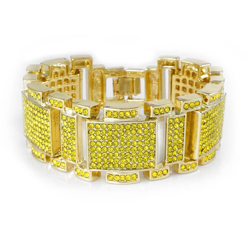 14k Canary Gold Iced Out Mini Goliath Bracelet