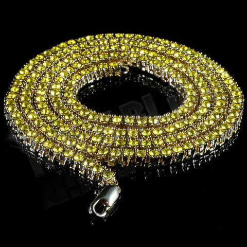 Affordable 14k Canary Iced Out 1 Row Hip Hop Chain - Black Background