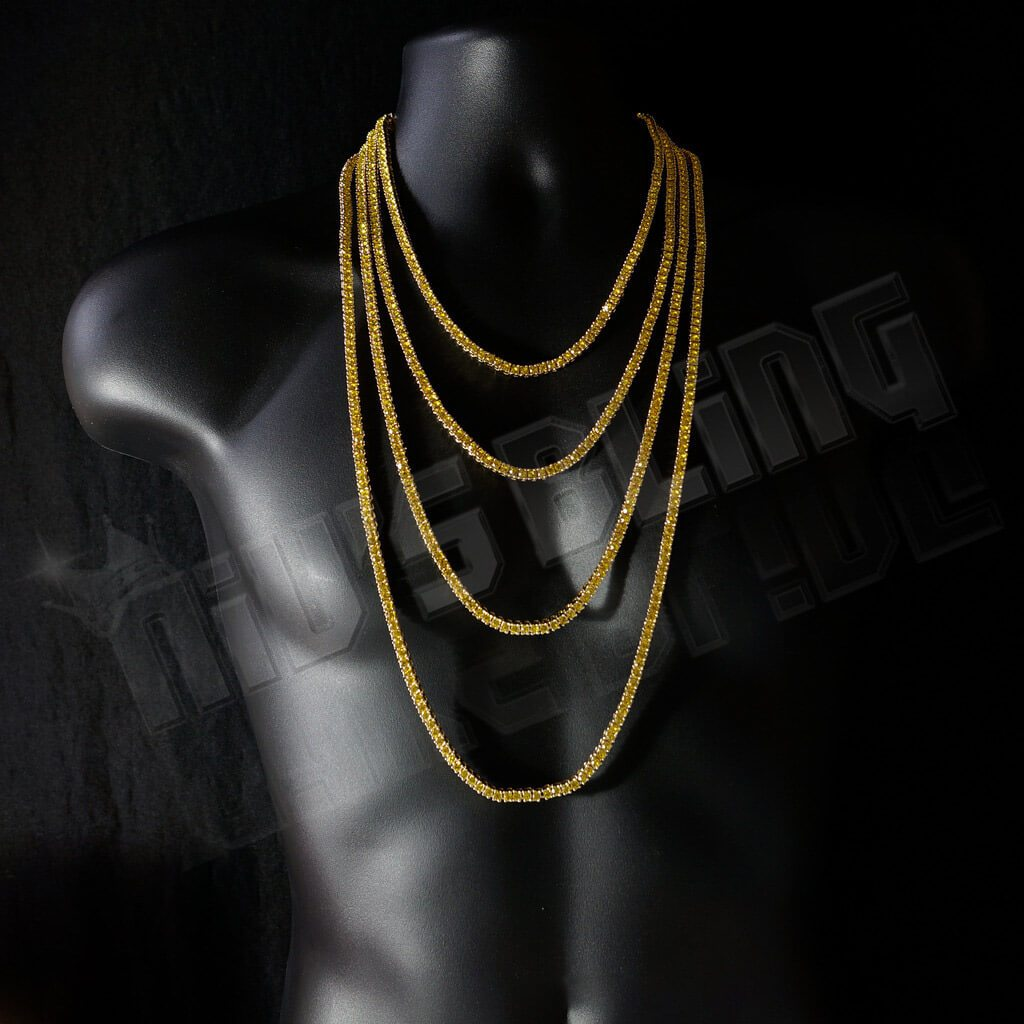 14k Canary Iced Out 1 Row Tennis Chain