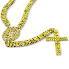 Affordable 14k Canary Iced Out 2 row Rosary Hip Hop Chain - White Background
