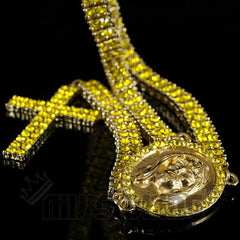 Affordable 14k Canary Iced Out 2 row Rosary Hip Hop Chain - Black Background