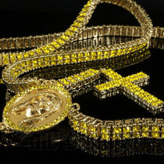 14k Canary Iced Out 2 row Rosary Chain
