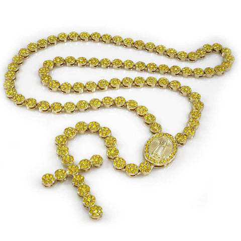Affordable 14k Canary Iced Out Rosary Flower Hip Hop Chain - White Background