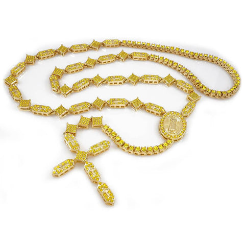Affordable 14k Canary Iced Out Rosary Shapes Hip Hop Chain - White Background
