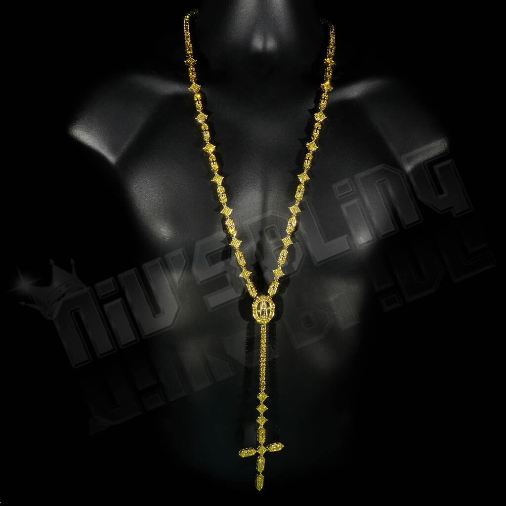 14k Canary Iced Rosary Shapes Chain