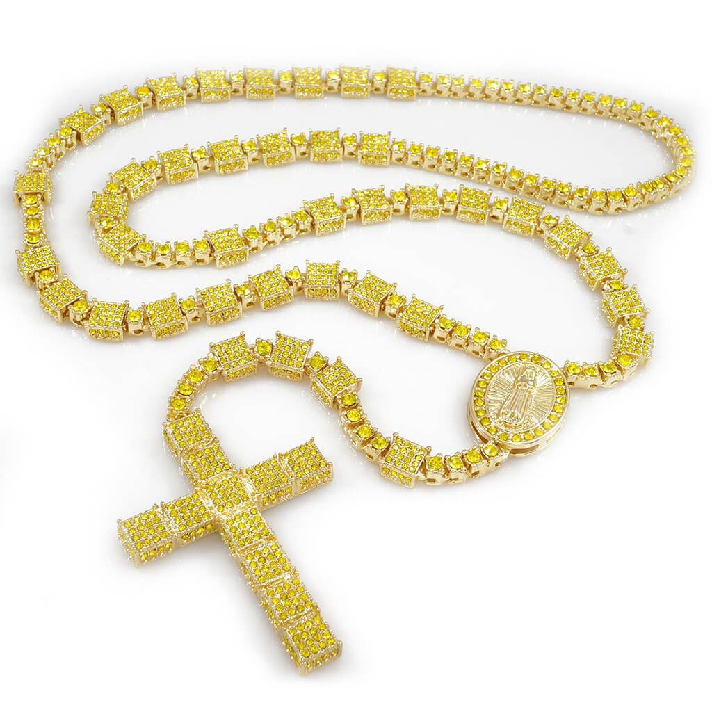 14k Canary Iced Out Rosary Square Chain