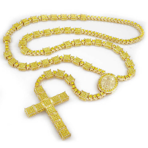 Affordable 14k Canary Iced Out Rosary Square Hip Hop Chain - White Background
