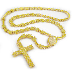 14k Canary Iced Rosary Square Chain