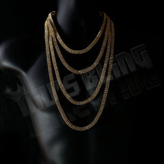 Affordable 14k Gold 2 Row Iced Out Hip Hop Chain - On Mannequin