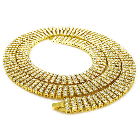 14k Gold 4 Row Iced Out Chain
