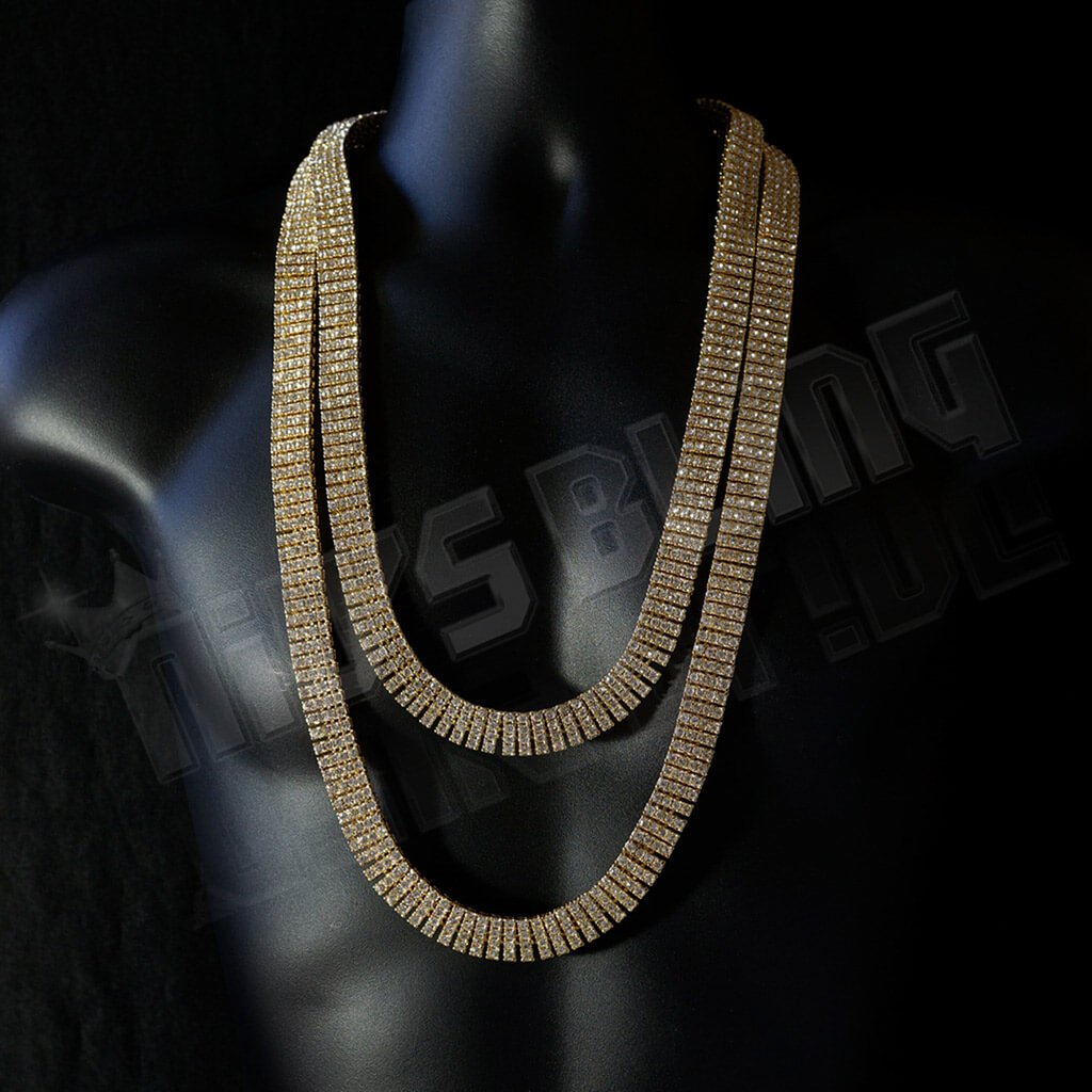 14k Gold 4 Row Iced Chain