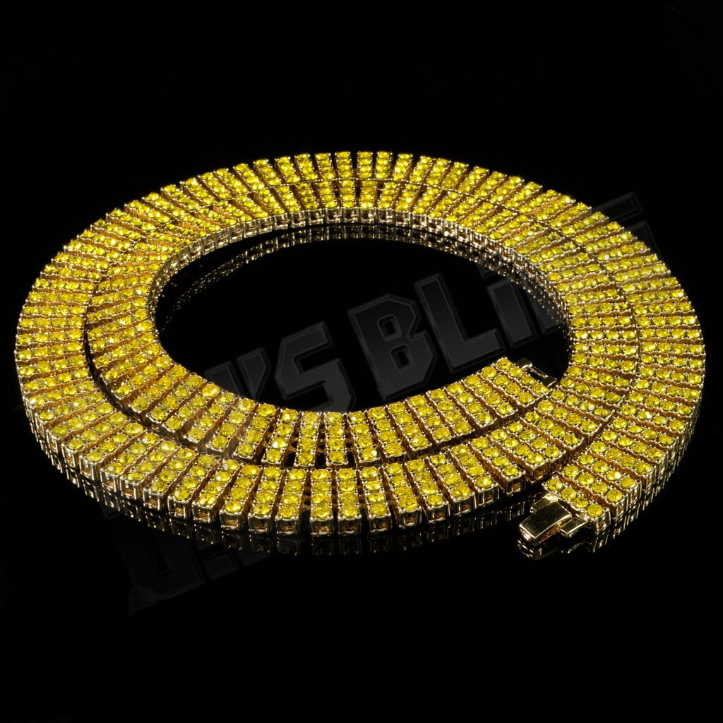 14k Gold Canary 4 Row Iced Out Chain