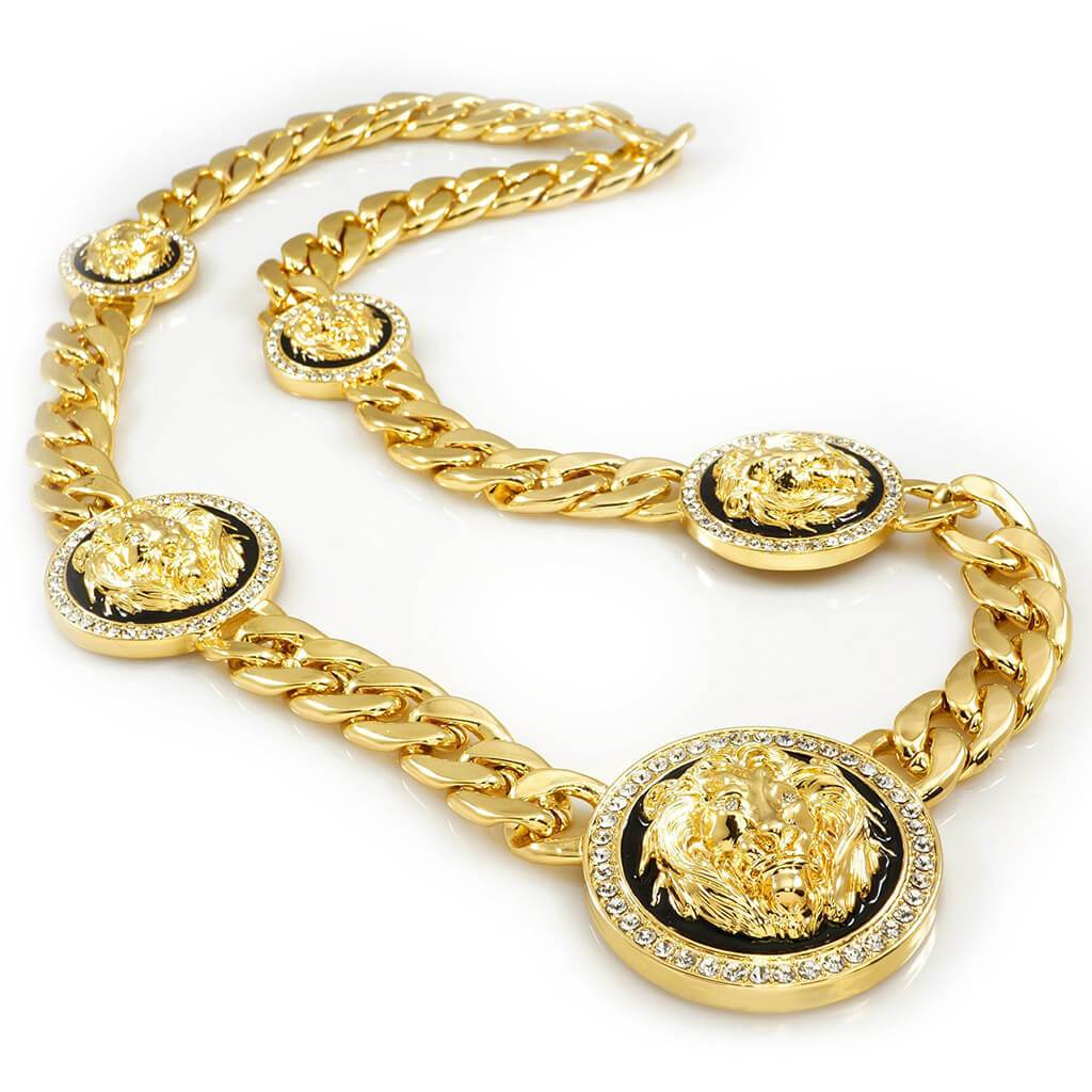 Affordable 14k Gold Five Head CZ Lion Cuban Hip Hop Chain - White Background
