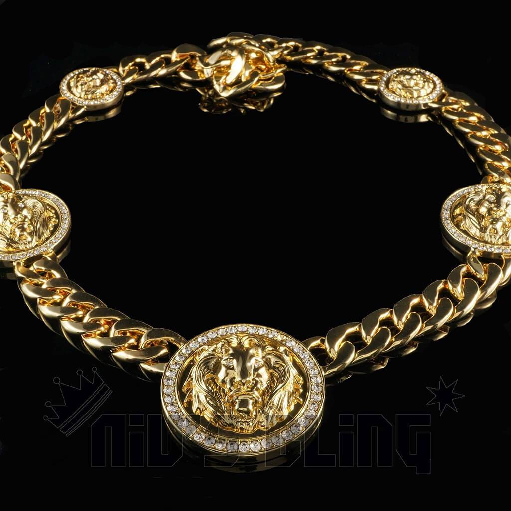 Affordable 14k Gold Five Head CZ Lion Cuban Hip Hop Chain - Black Background