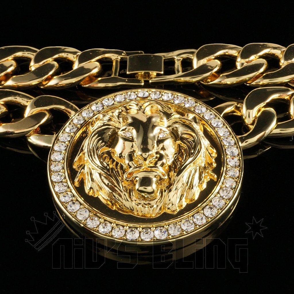 Affordable 14k Gold Five Head CZ Lion Cuban Hip Hop Chain - Lion Pendant