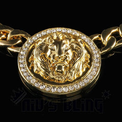 Affordable 14k Gold Five Head CZ Lion Cuban Hip Hop Chain - Lion Pendant Close up