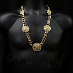 Affordable 14k Gold Five Head CZ Lion Cuban Hip Hop Chain - On Mannequin