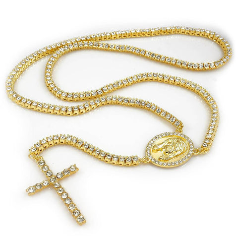 Affordable 14k Gold Iced Out 1 Row Rosary Hip Hop Chain - White Background