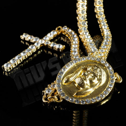 Affordable 14k Gold Iced Out 1 Row Rosary Hip Hop Chain - Centerpiece and Crucifix Pendant