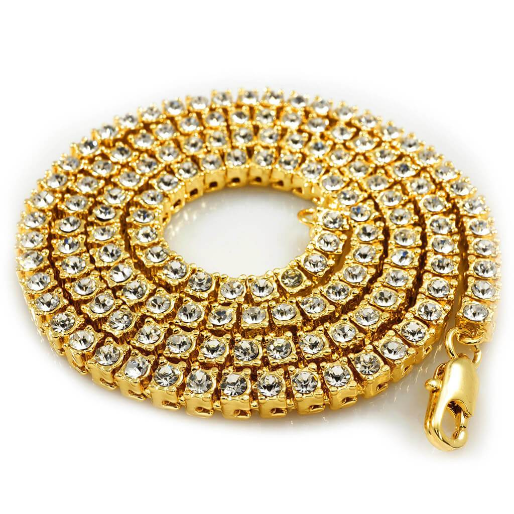 Affordable 14k Gold Iced Out 1 Row Hip Hop Chain - White Background