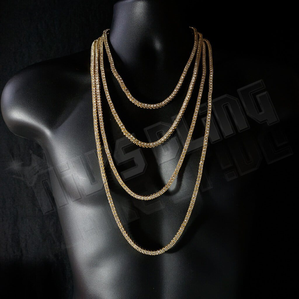 14k Gold Iced Out 1 Row Tennis Chain