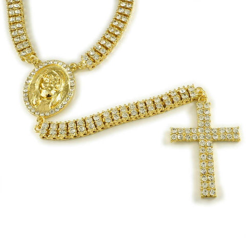 Affordable 14k Gold Iced Out 2 Row Rosary Jesus Hip Hop Chain - White Background