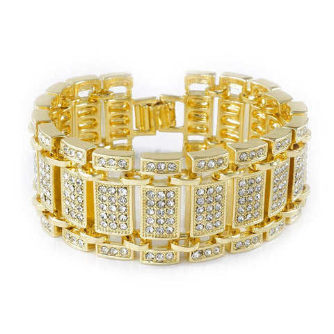 14k Gold Iced Out Ladder Bracelet