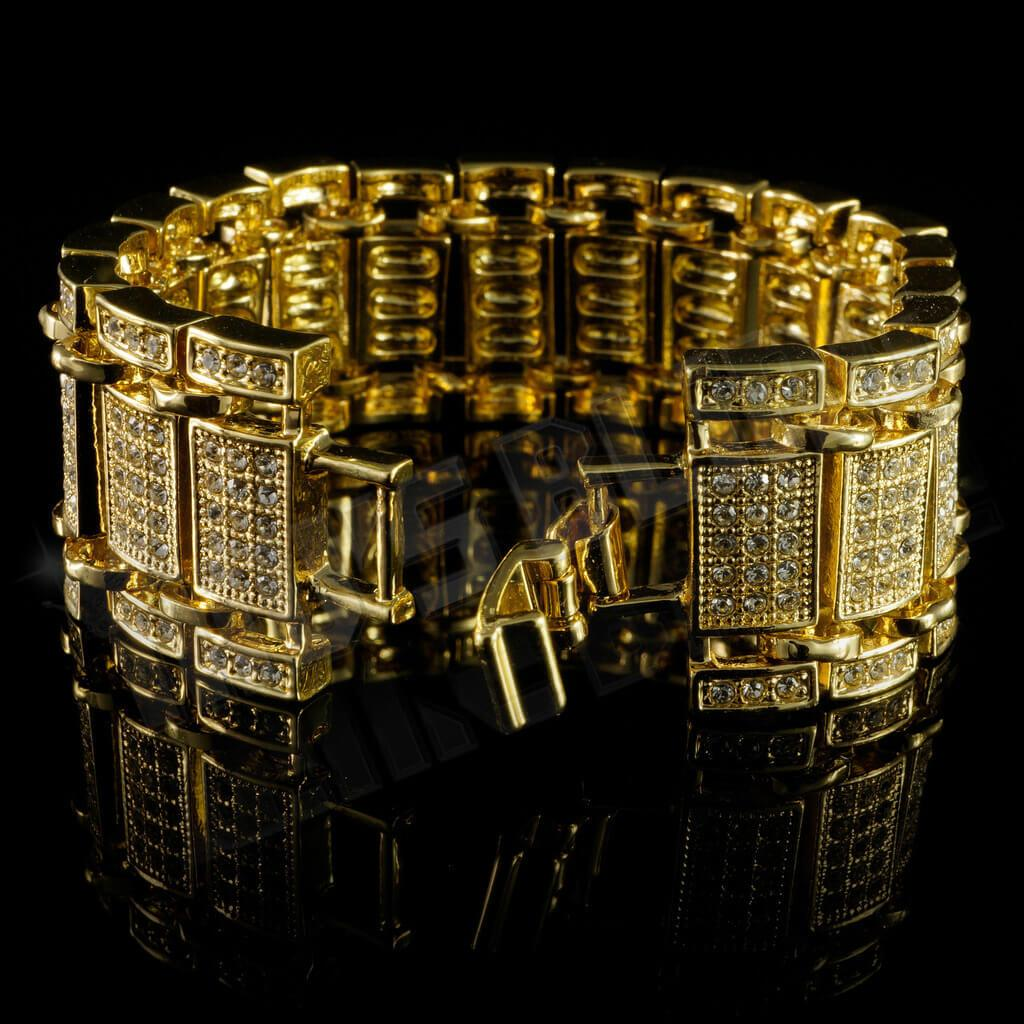 Affordable 14k Gold Iced Out Ladder Hip Hop Bracelet - Side View with Open Fold-Over Clasp