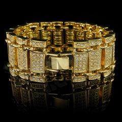 Affordable 14k Gold Iced Out Ladder Hip Hop Bracelet - Side View with Closed Fold-Over Clasp