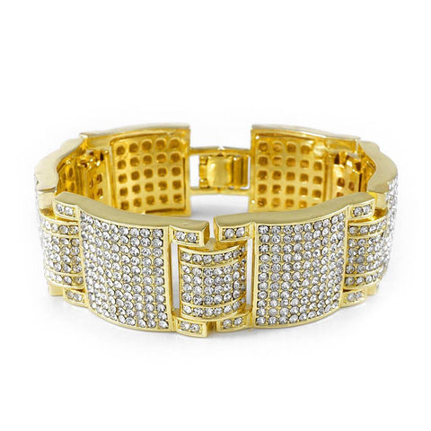 14k Gold Iced Out Large Link Bracelet