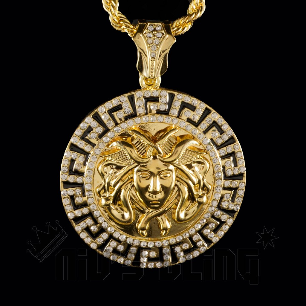 14k gold iced out medusa pendant with chain nivs bling pendants 14k gold iced out medusa pendant with hip hop chain pendant front view aloadofball Gallery