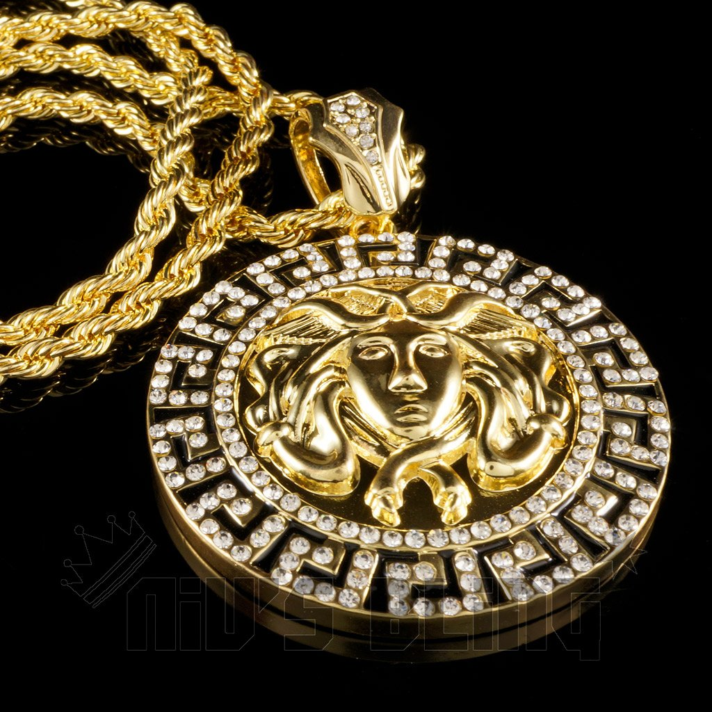 14k gold iced out medusa pendant with chain nivs bling pendants 14k gold iced out medusa pendant with hip hop chain black background aloadofball Gallery