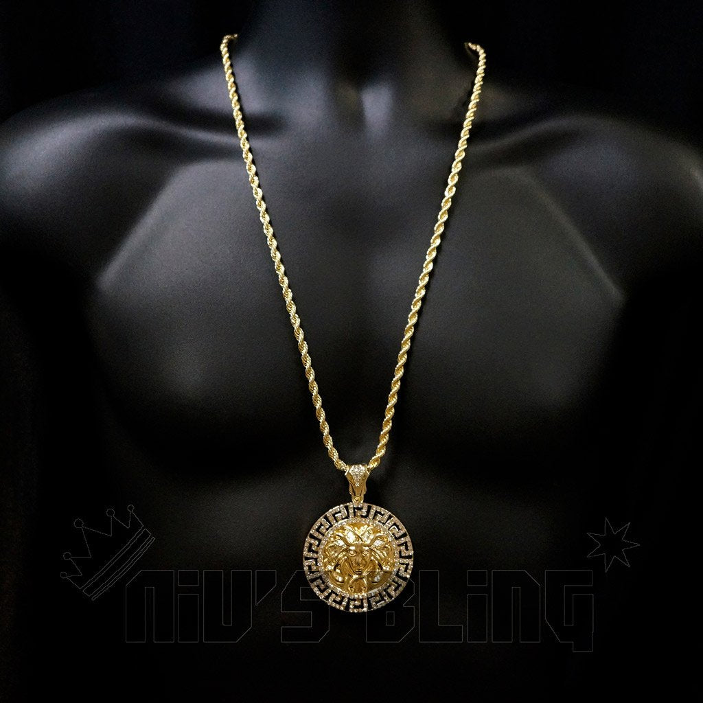 14k gold iced out medusa pendant with chain nivs bling pendants 14k gold iced out medusa pendant with hip hop chain on mannequin aloadofball Gallery