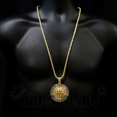 14k Gold Iced Out Medusa Pendant With Chain