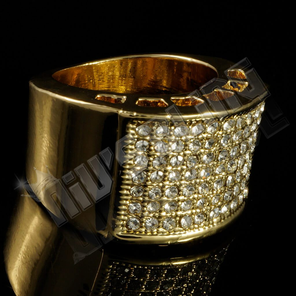 14k Gold Iced Out Micropave Pinky Ring