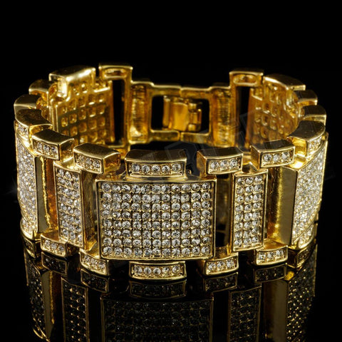 14k Gold Iced Out Mini Goliath Bracelet